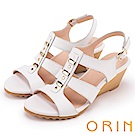 ORIN 夏日耀眼時尚 線條羅馬牛皮楔型涼鞋-白色