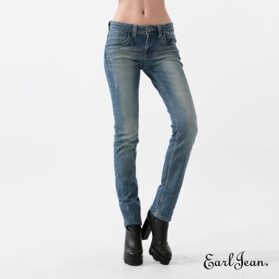 Earl Jean 天絲棉磨毛中高直筒褲-中藍-女