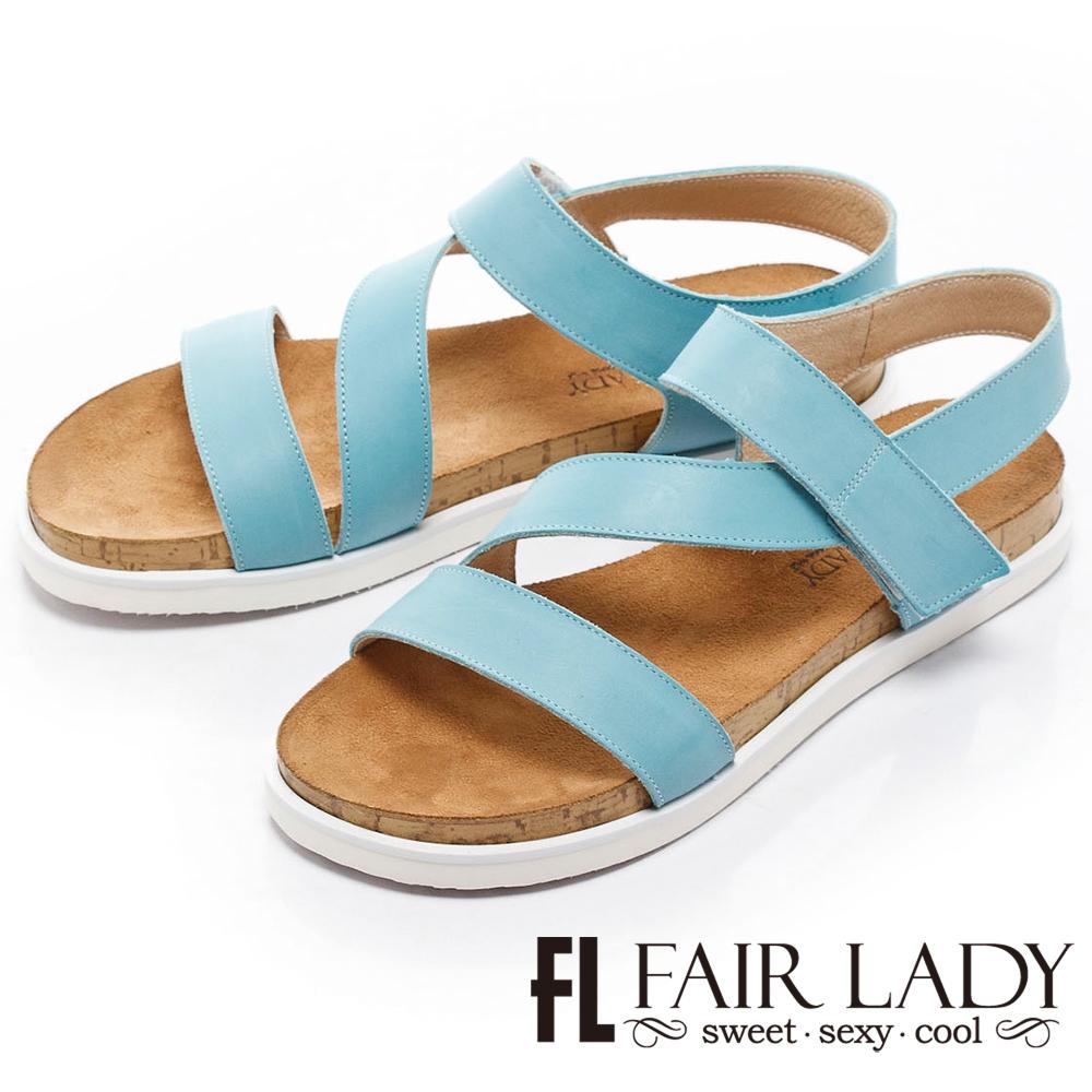 Fair Lady輕軟真皮鬆糕厚底涼鞋藍