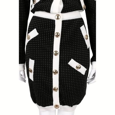 BOUTIQUE MOSCHINO 黑x白色點點排釦針織裙
