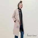 beartwo 英文刺繡綁帶翻領長版外套(二色)