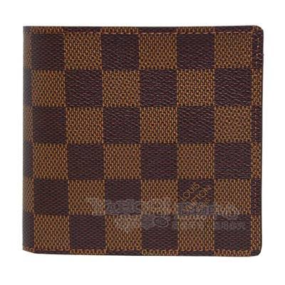 LV N61675 經典棋盤格雙折4卡簡約短夾