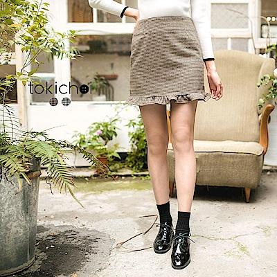 東京著衣 氣質千鳥紋剪接荷葉裙擺短裙-S.M.L(共二色)