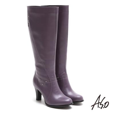 A.S.O 都會時尚 閃鑽微笑曲線靜音奈米長靴 紫