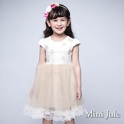 Mini Jule 童裝-洋裝 線繡太陽花蕾絲網紗短袖洋裝(白)