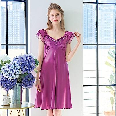 睡衣 彈性珍珠絲質高雅蕾絲性感睡衣(R75048-18 葡萄紫)蕾妮塔塔