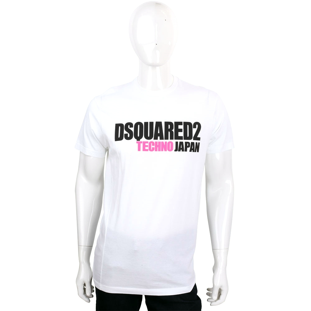 DSQUARED2 白色字母排列設計棉質短袖T恤