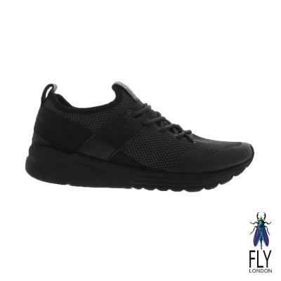 Fly London(女) 愛飛的女孩 輕透氣網紋真皮免綁帶運動鞋 - 雙黑