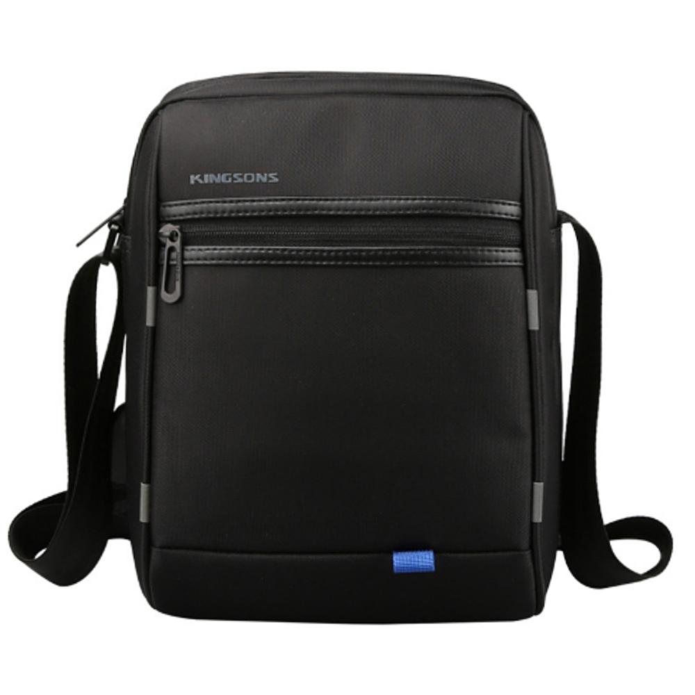 leaper KINGSONS USB充電防潑水休閒單肩斜背包 黑色
