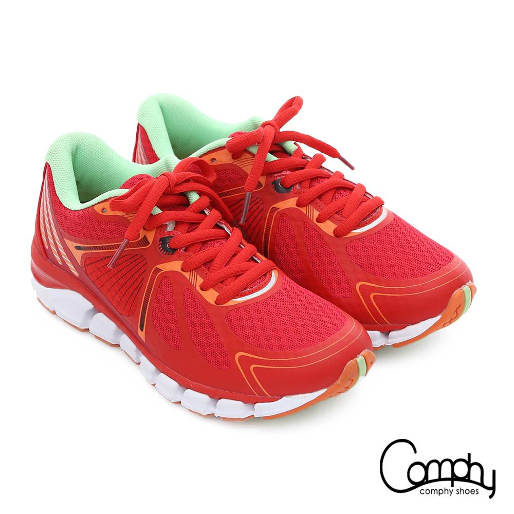 Comphy 厚切超氣囊 輕量彈力綁帶奈米健走運動鞋 紅色