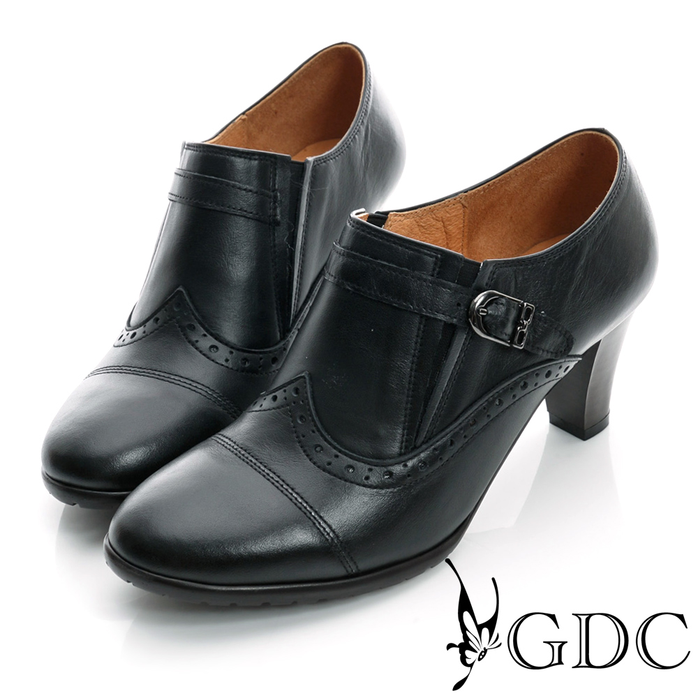 GDC復古-牛津皮帶扣真皮中跟踝靴-黑色