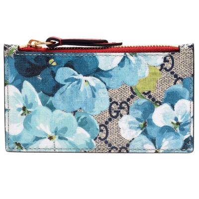 GUCCI Blooms系列花卉雙G LOGO卡夾/零錢包(藍)