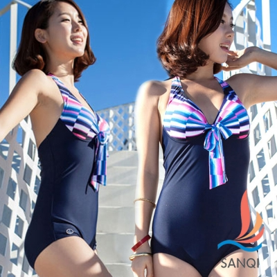 SANQI三奇 普普嘉年華 連身式泳裝 泳衣(藍M~XL)