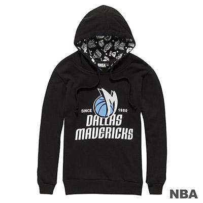 NBA-達拉斯小牛隊大圖印花連帽長袖厚T恤-黑-女