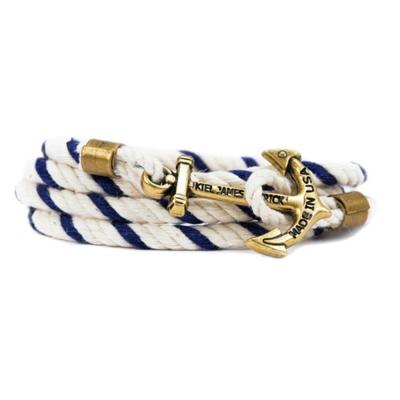 Kiel James Patrick 美國手工船錨棉麻繩多圈手環 海軍藍白纏繞編織