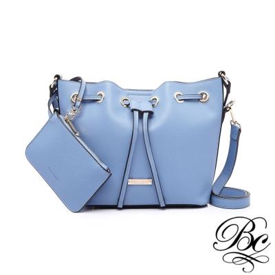 BELLUCY 韓版時尚金屬束口水桶包(海洋藍)