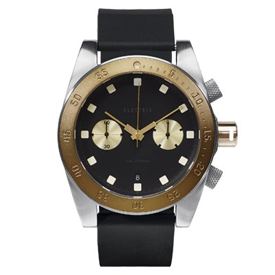 ELECTRIC DW02系列-時尚雙眼設計計時腕錶-金x黑矽膠帶/44.5mm