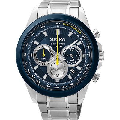 SEIKO精工 CS 破風競速計時腕錶(SSB251P1)-藍/45mm