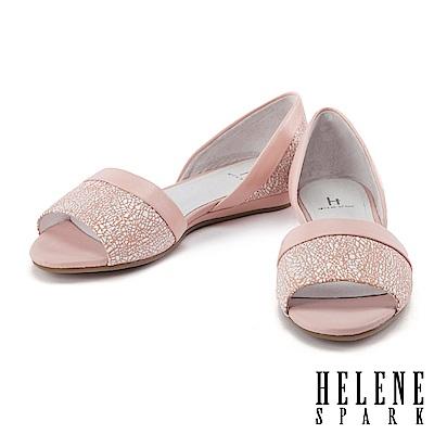 平底鞋 HELENE SPARK 隨性摩登幾何羊皮魚口平底鞋-粉