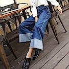 ALLK  寬直筒配色喇叭牛仔褲 共2色(腰圍27-31)