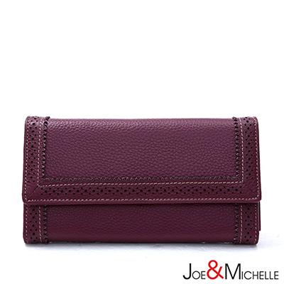 J&M 真皮克萊爾法式優雅三折長夾 羅蘭紫