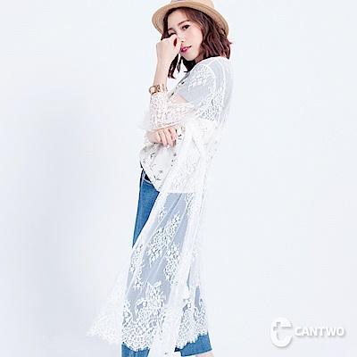 CANTWO蕾絲綁帶長版罩衫(共二色)