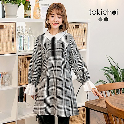 東京著衣 清新甜美格紋袖口鬆緊綁帶洋裝-S.M(共二色)