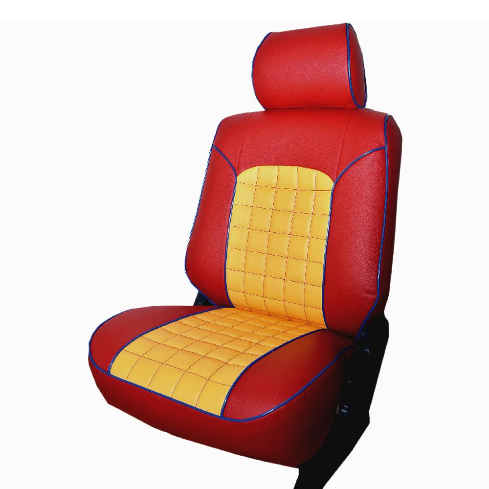【葵花】量身訂做-汽車椅套-日式合成皮-格子配色-B款-雙前座