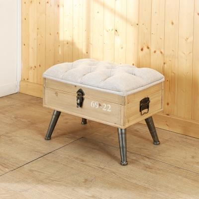 BuyJM Loft工業風亞麻布木製掀蓋沙發椅寬50.5公分