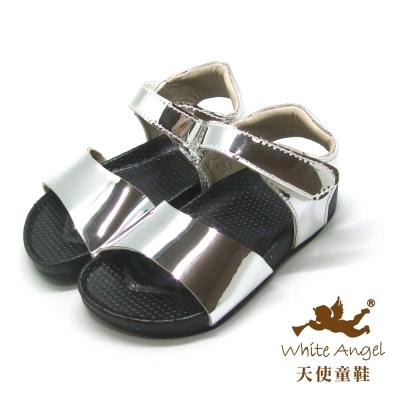 天使童鞋-C2306 簡約金屬感涼鞋(小童)-銀