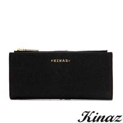 KINAZ-貓頭鷹-明亮雙眸真皮兩折式長夾-神秘黑