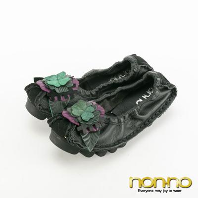 nonno-立體藝術花朵真皮平底鞋-黑