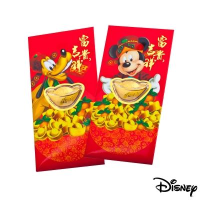 Disney迪士尼系列金飾-黃金元寶紅包袋-富貴米奇+福氣高飛款