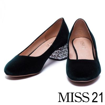 跟鞋 MISS 21 復古絨布白鑽點綴銀色粗跟鞋-綠