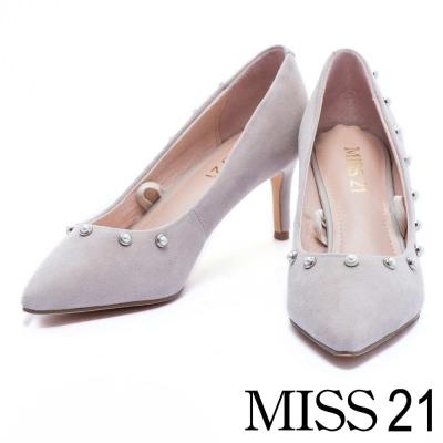 高跟鞋 MISS 21 時髦個性珍珠綁帶尖頭高跟鞋-灰