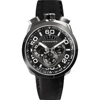 BOMBERG 炸彈錶 BOLT-68 鋼色黑面計時碼錶-45mm