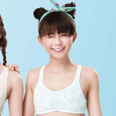 嬪婷 學生內衣 第二階段 AA70-85 罩杯背心(企鵝藍)