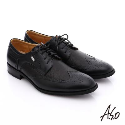 A.S.O 勁步雙核心 真皮拼接綁帶奈米牛津鞋 黑軟皮