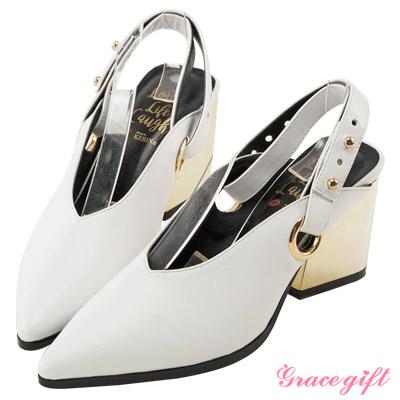 Grace gift X Kerina妞妞-V型金屬圓環繫帶跟鞋 白