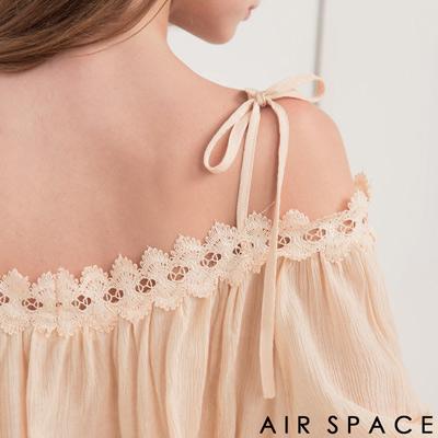 AIR SPACE 拼接蕾絲領細肩綁帶上衣(杏)
