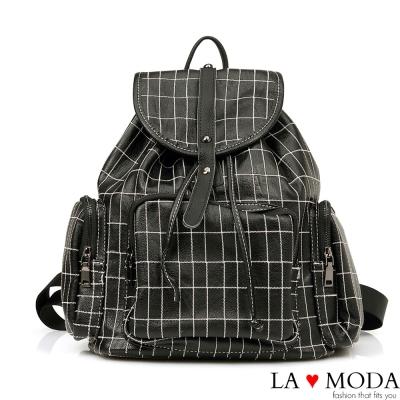 La Moda 注目焦點 特色格紋設計大容量後背包(黑)