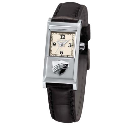 ICEBERG 米蘭時尚系列LOGO皮帶錶-白/20x36mm