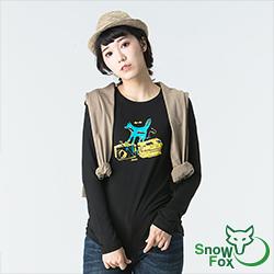 【SNOWFOX 雪狐】質輕透氣不悶熱 防曬女款長袖圖T恤 ATL-81653W 黑