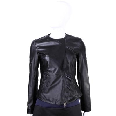 MARELLA 黑色荷葉造型無領羊皮衣外套