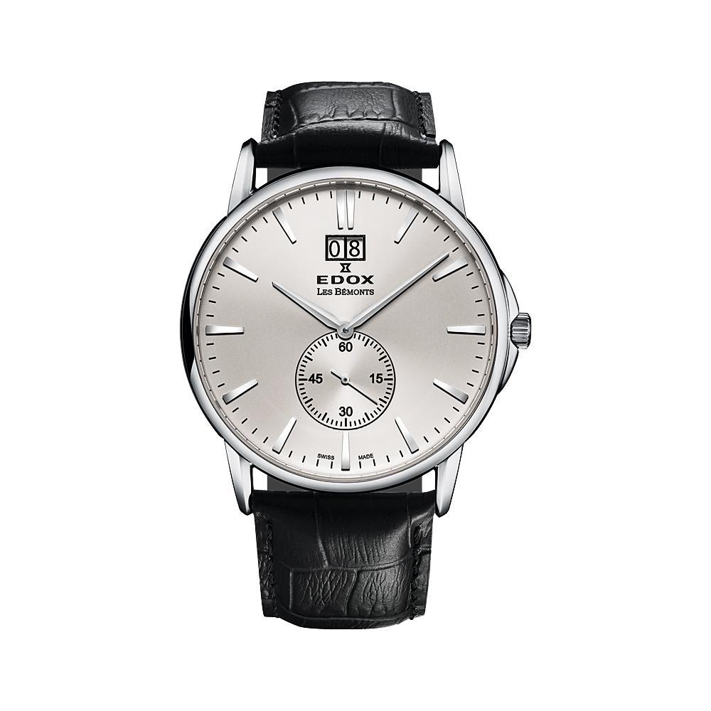 EDOX Les Bemonts 薄曼系列大視窗小秒針腕錶-銀/40mm