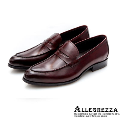 ALLEGREZZA-真皮男鞋-沉著幹練-牛皮素面樂福鞋  紅色