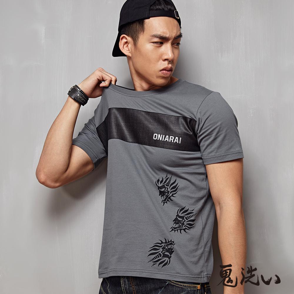 鬼洗 BLUE WAY 反光字體異材質鬼頭印花短袖T恤-灰色