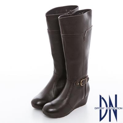 DN 率性魅力 質感牛皮金屬釦飾楔型長靴 深咖