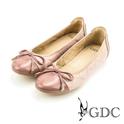 GDC-蝴蝶結漆皮菱格紋縫線造型真皮平底娃娃鞋-粉色