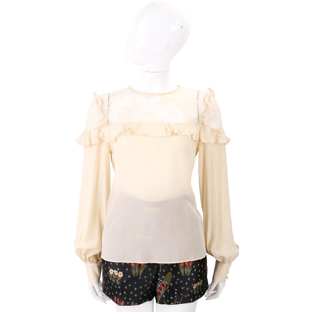 PINKO 米黃色拼接透膚紗質長袖上衣